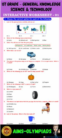 Interactive worksheet 1st-general knowledge-ps01-science & technology