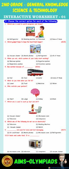 Interactive worksheet 2nd-general knowledge-ps01-science & technology