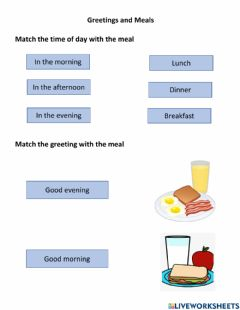 Interactive worksheet Greetings and Meals