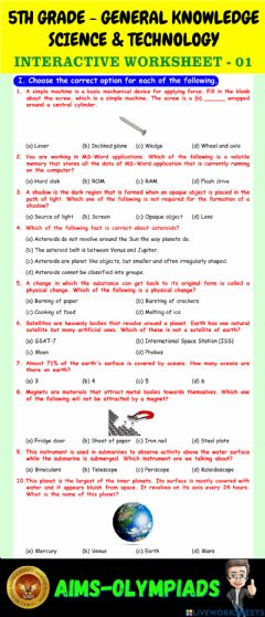 Interactive worksheet 5th-general knowledge-ps01-science & technology