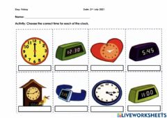 Interactive worksheet Reading Unit 7: Out and About (Telling the Time)