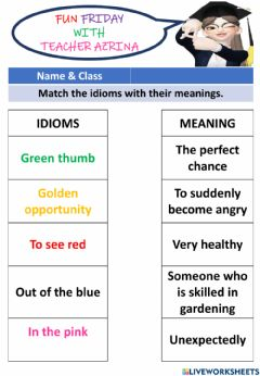 Interactive worksheet Colour Idioms