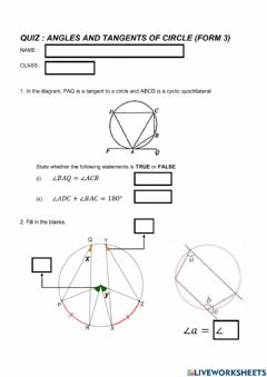 Ficha interactiva Quiz Angles and Tangents of Circle