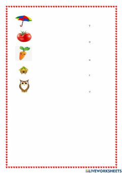 Interactive worksheet First letter