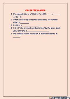 Ficha interactiva Knowing Numbers