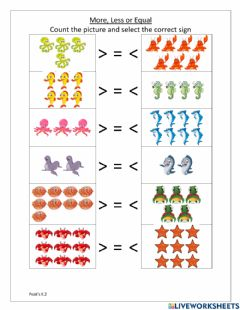 Ficha interactiva More, Less or Equal Numbers