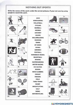 Interactive worksheet Nothing But Sports