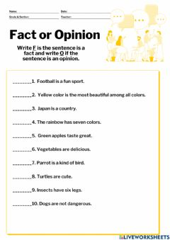 Interactive worksheet Fact of Opinion