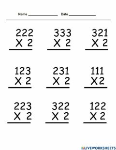 Interactive worksheet Multiplication without regrouping