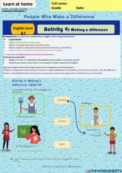 Interactive worksheet People who Make a difference-. Making a difference week18 A1