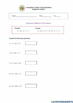 Interactive worksheet Expansion by Difference of Two Squares
