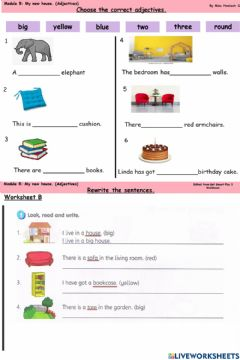 Interactive worksheet Year 3 module 5 my new house (adjectives)