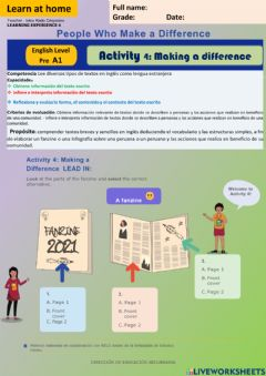 Interactive worksheet People who Make a difference-. Making a difference week18  PreA1 irc