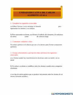 Interactive worksheet Enlace quimico