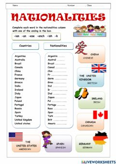 Interactive worksheet Country and Nationality