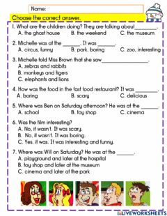 Interactive worksheet Where were you on Saturday?