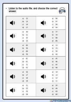 Interactive worksheet Chinese numbers