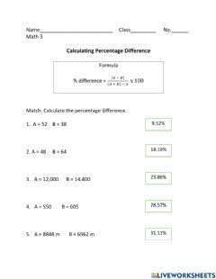 Ficha interactiva Calculating Percentage Difference