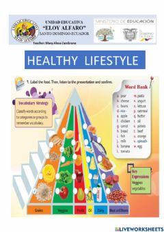 Interactive worksheet Healthy life style