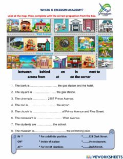 Ficha interactiva Freedom academy prepositions in on at