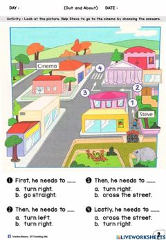 Interactive worksheet Out and About (Multiple Choices)