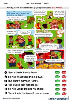 Interactive worksheet Out and About (True or False)