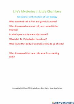 Interactive worksheet Mile Stone's of Cell Biology