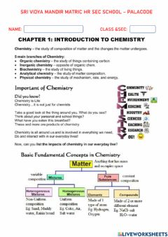 Interactive worksheet Some basic concept of chemistry