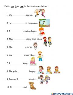 Interactive worksheet Am is are
