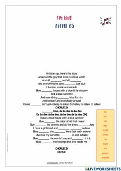 Interactive worksheet SONG-I'm blue