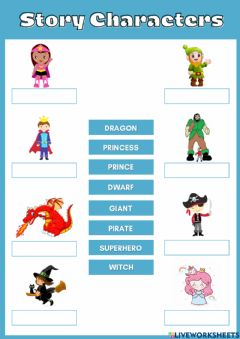Interactive worksheet Story Characters