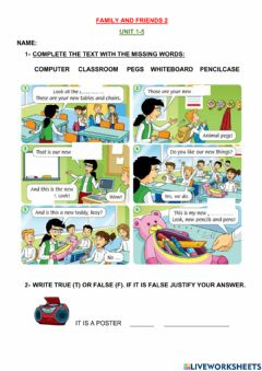 Ficha interactiva Family and friends 2- test unit 1 to 5