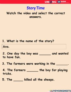 Interactive worksheet Story Time
