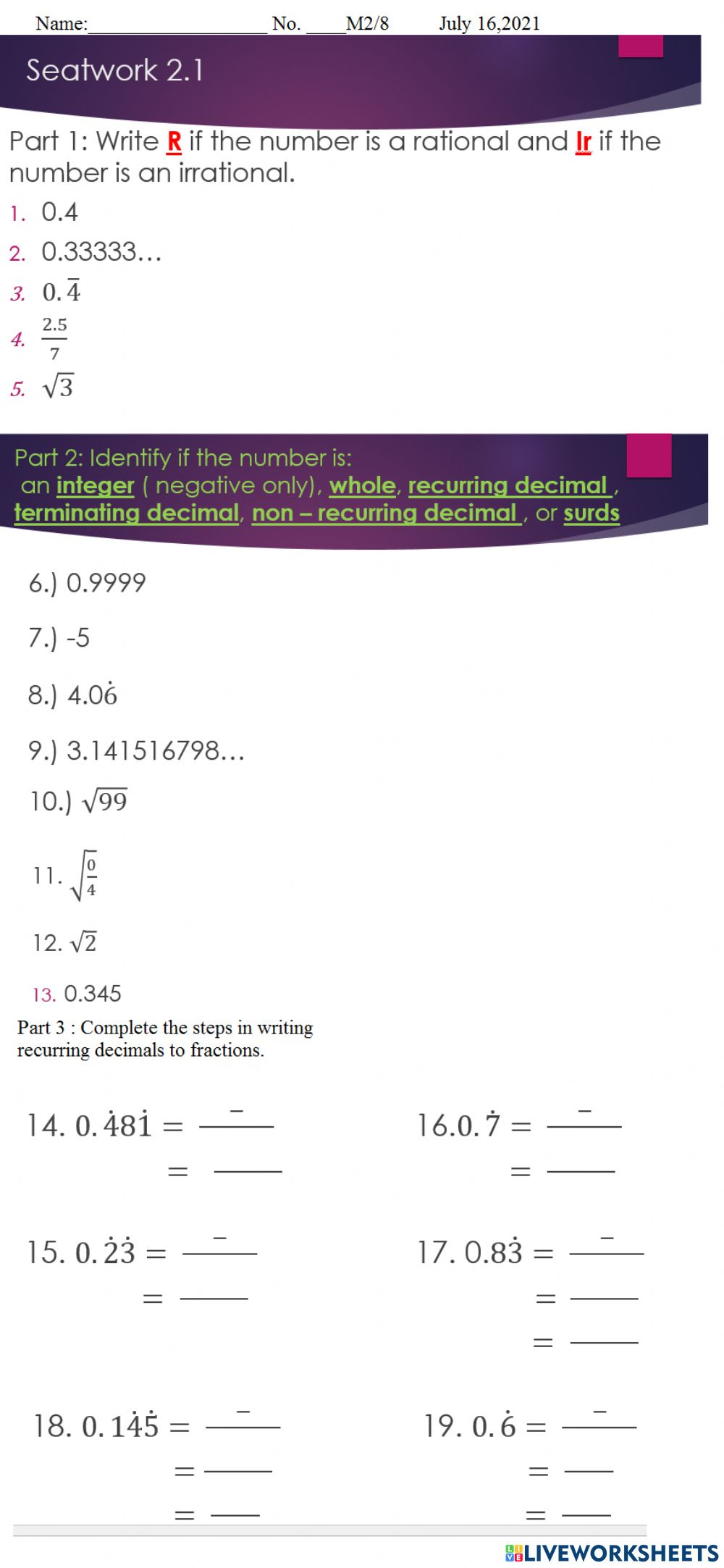 Rational and Irrational Numbers interactive worksheet Within Rational Irrational Numbers Worksheet