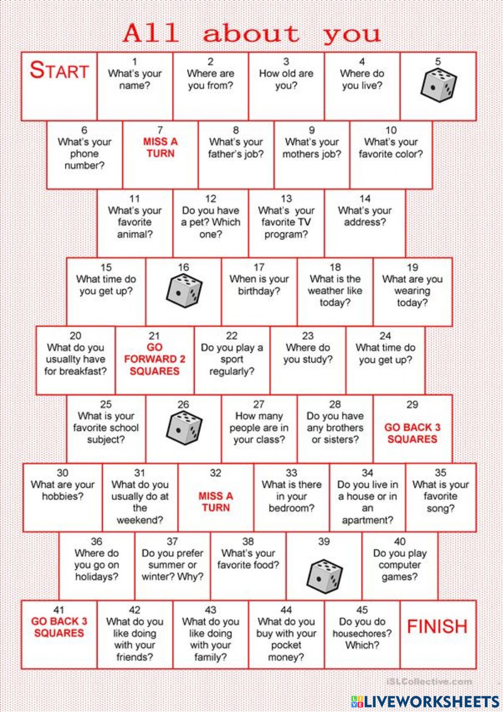 All about you boardgame worksheet