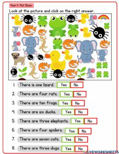 Interactive worksheet YEAR 1- PET SHOW (Count the animals)