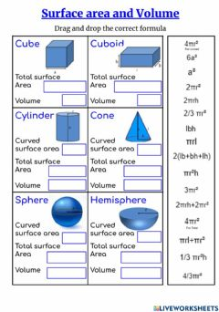 Interactive worksheet Surface area and Volume