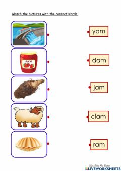 Interactive worksheet 'am' word family