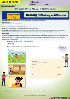 Interactive worksheet People who Make a difference-. Making a difference week18 A2