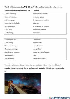 Interactive worksheet Coldplay Up&Up video observation lesson