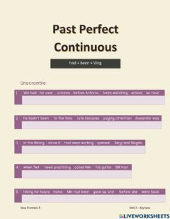 Interactive worksheet Past Perfect Continuous