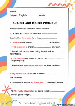 Interactive worksheet Subject and Object Pronoun