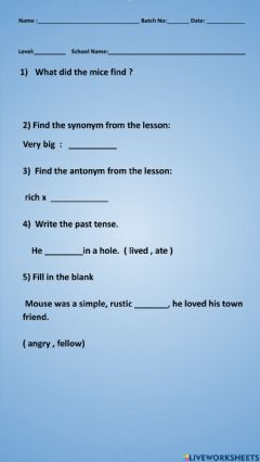 Interactive worksheet Two fables