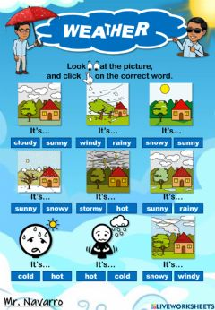 Interactive worksheet Weather (Look at the picture and click on the correct word)