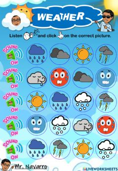 Interactive worksheet Weather (Listen and click)
