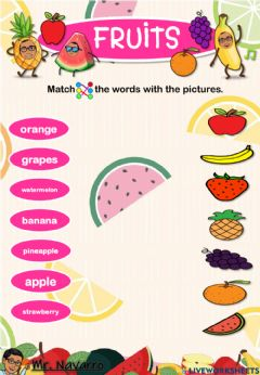 Ficha interactiva Fruits (Match the words with the pictures)