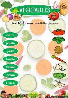 Interactive worksheet Vegetables (Match the words with the pictures)