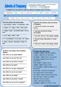 Interactive worksheet Adverbs of Frequency - exercise sheet 1