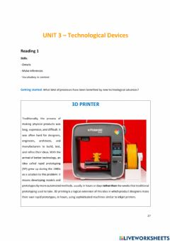 Interactive worksheet Technological devices