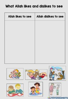 Interactive worksheet What Allah likes and dislikes to see
